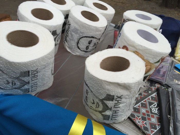 Lots of Putin toilet paper for sale
